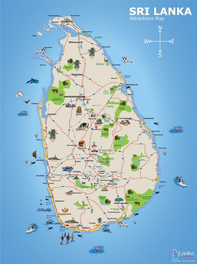 Map of Sri Lanka From LankaTourExperience