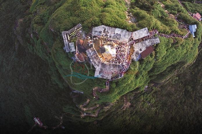 Aerial view of Adam's Peak and temple
