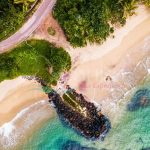 Aerial view of the tropical beach with palm trees on the shore and coral reef in the sea. Sri Lanka